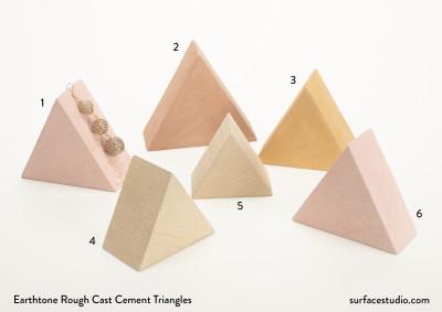 Earthtone Rough Cast Cement Triangles (6) $35 each