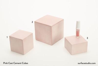 Pink Cast Cement Cubes (3)