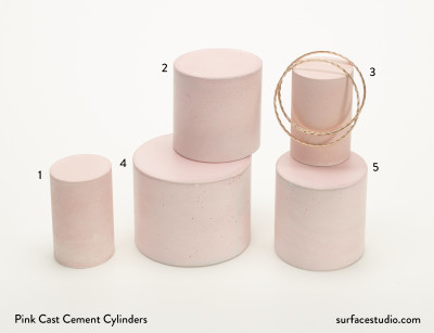 Pink Cast Cement Cylinders (5)
