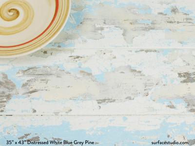 Distressed White Blue Grey Pine