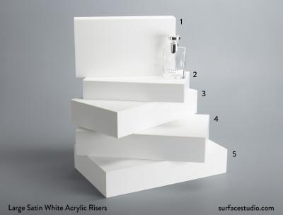 Large Satin White Acrylic Risers (5)