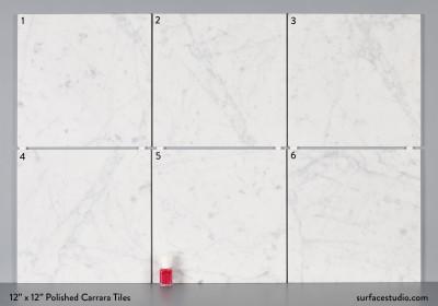 "12"" x 12"" Polished Carrara Tiles (6) $20 each"