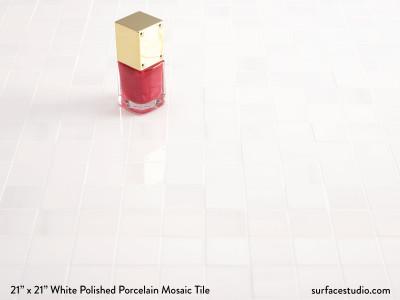 White Polished Porcelain Mosaic Tile