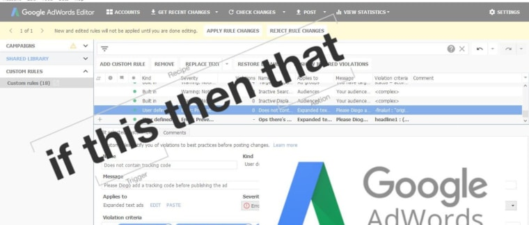 Google Adwords Editor Custom Rules: How it works + Default Rules + New Rules