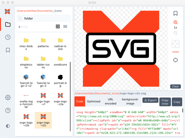 Free desktop SVG icon & asset manager for Mac and PC