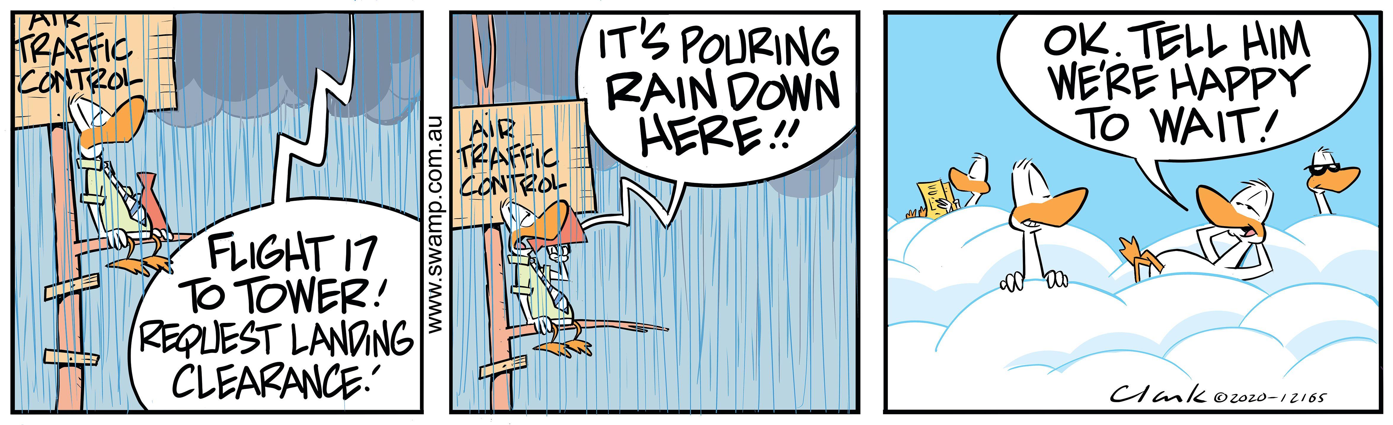 Pouring Rain on Airstrip
