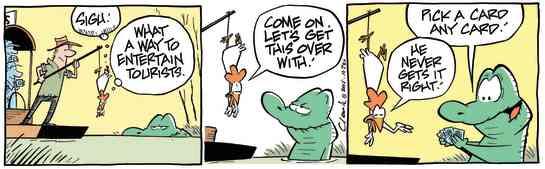 Swamp Cartoon - Old Man Croc Feeding ComicApril 22, 2015