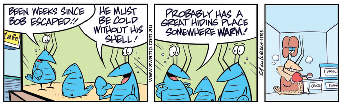 Swamp Cartoon of the Day - Bob Crayfish Hiding