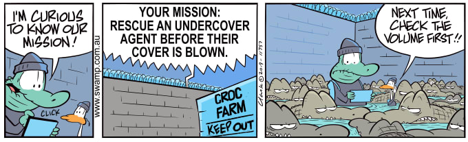 Swamp Cartoon of the Day - Old Man Croc Curious