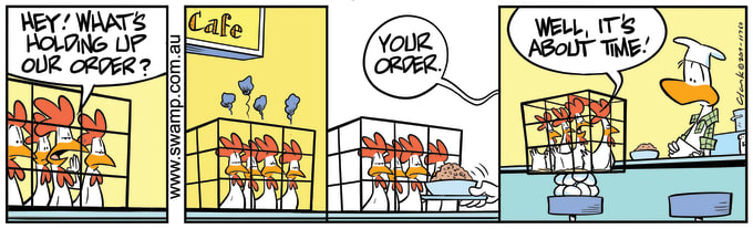 Swamp Cartoon of the Day - Chickens Become Impatient