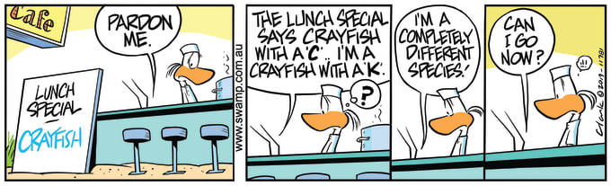 Swamp Cartoon of the Day - Bob Crayfish Different Species