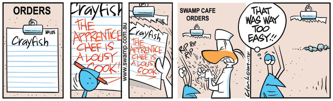 Swamp Cartoon of the Day - Bob Crayfish Annoys Apprentice Chef