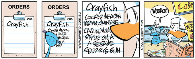 Swamp Cartoon of the Day - Bob Crayfish Tricks Apprentice