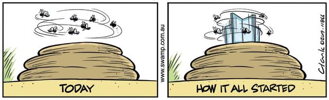 Swamp Cartoon of the Day - Flies Buzzing Cowpat