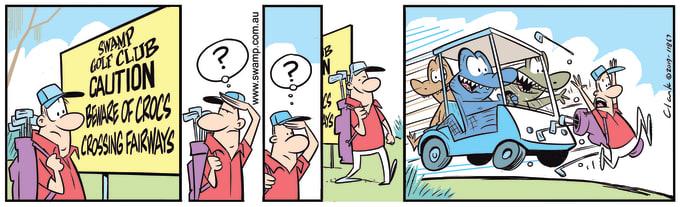 Swamp Cartoon of the Day - Rogue Crocs Cross Fairways