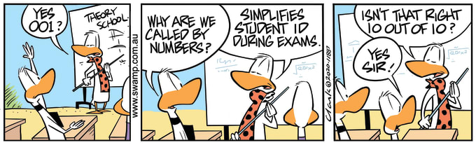 Swamp Cartoon of the Day - Flying Students Called by Numbers