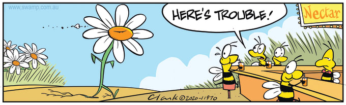Swamp Cartoon of the Day - Flower is Angry with Bees