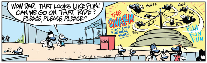 Swamp Cartoon of the Day - Flies Cowpat Fun Ride