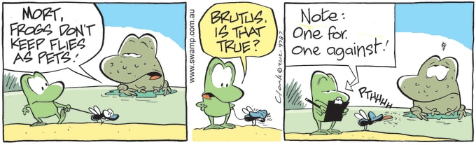 Swamp Cartoon of the Day - Wart Frog Informs Mort