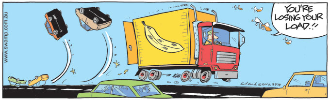 Swamp Cartoon of the Day - Slippery Banana Skins