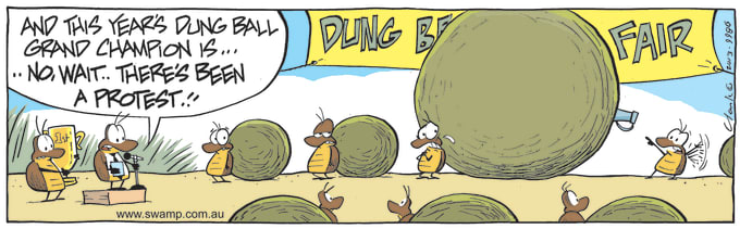 Swamp Cartoon of the Day - Award for Biggest Dung Ball