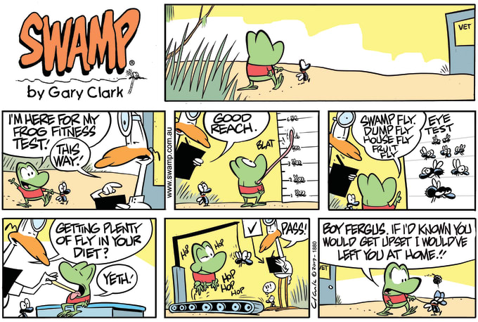 Swamp Cartoon of the Day - Mort Frog Fitness Test