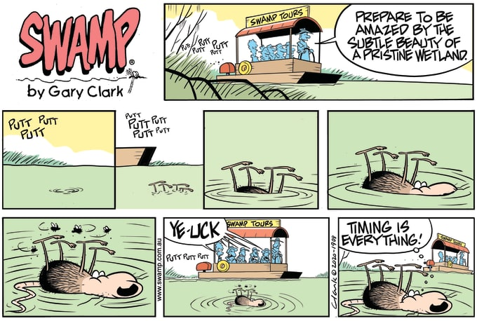 Swamp Cartoon of the Day - Timing is Everything