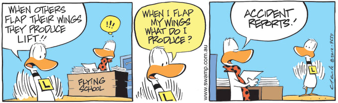 Swamp Cartoon of the Day - Flap Wings For Lift