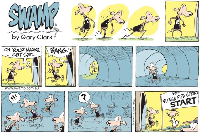 Swamp Cartoon of the Day - Sludge Pipe Sprint