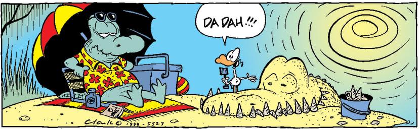 Swamp Cartoon - Old Man Croc Sand Sculpture ComicOctober 14, 2014