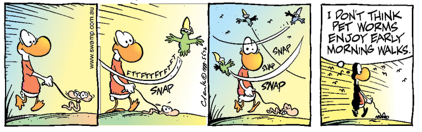 Swamp Cartoon - Walking the wormNovember 25, 1999
