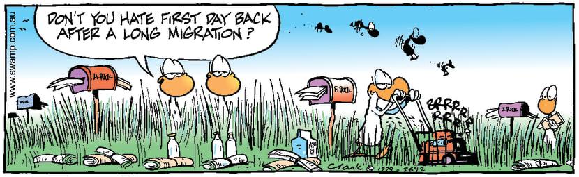 Swamp Cartoon - Return from HolidaysDecember 18, 1999