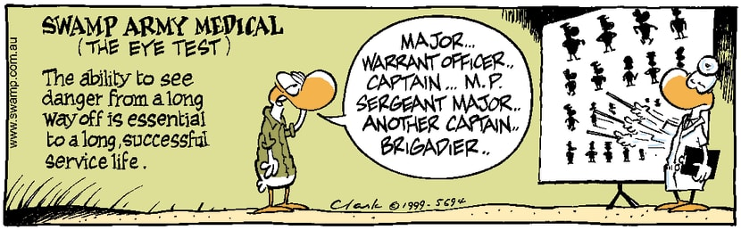 Swamp Cartoon - Army Eye TestDecember 21, 1999
