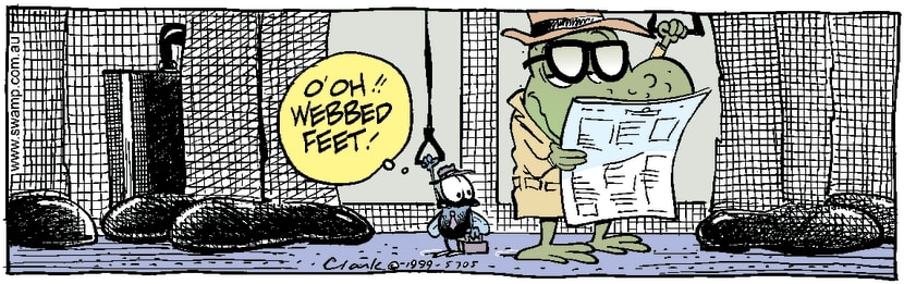 Swamp Cartoon - Fly Meets Frog on Train ComicNovember 6, 2014