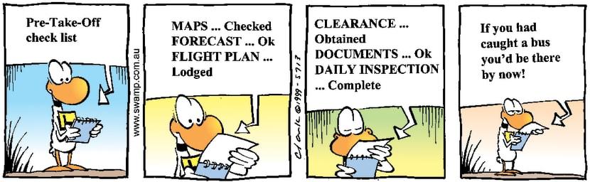 Swamp Cartoon - Pre-Take-Off Check listJanuary 12, 2000