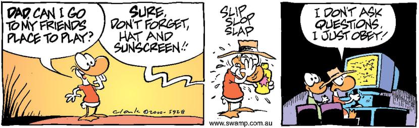 Swamp Cartoon - Slip Slop SlapSeptember 18, 2000