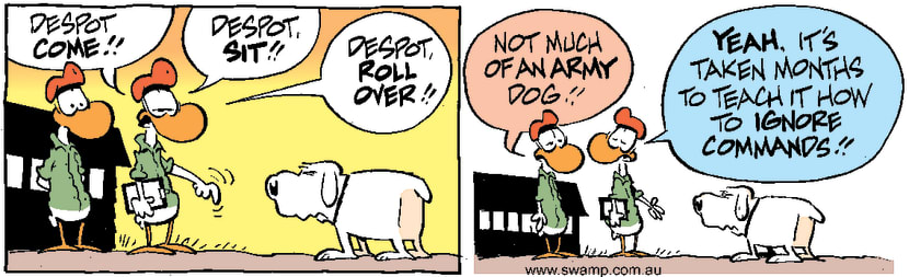 Swamp Cartoon - Despot Dog Ignores CommandsDecember 15, 2000