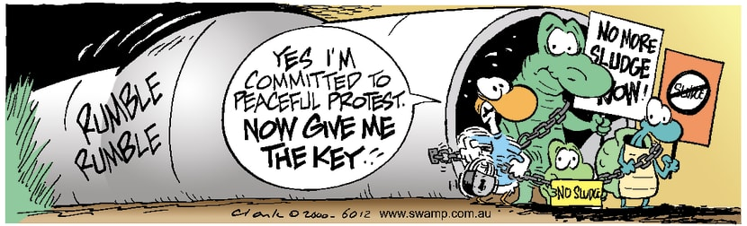 Swamp Cartoon - Sludge ProtestDecember 25, 2000