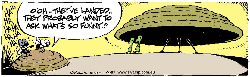 Swamp Cartoon - Alien Encounter ComicFebruary 8, 2001