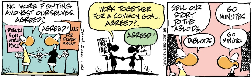 Swamp Cartoon - Peace Protestors 3February 24, 2001