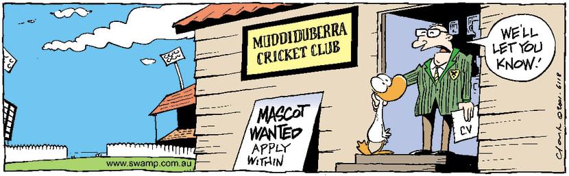 Swamp Cartoon - Cricket MascotApril 27, 2001