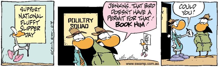 Swamp Cartoon - Fluffy Slipper CampaignJuly 6, 2001