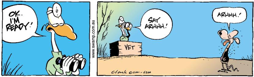 Swamp Cartoon - Swamp Vet Worried ComicAugust 1, 2001