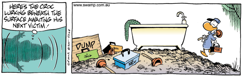 Swamp Cartoon - Lurking CrocSeptember 26, 2001