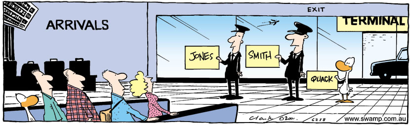Swamp Cartoon - Airport ArrivalsOctober 8, 2001