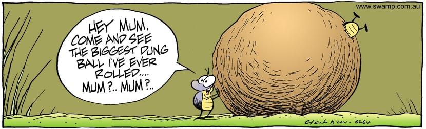 Swamp Cartoon - Biggest Dung RollOctober 15, 2001