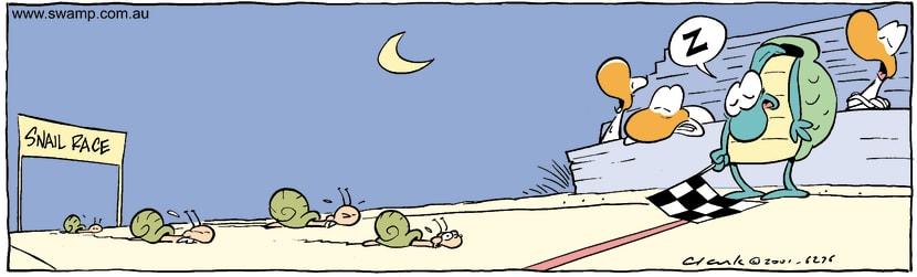 Swamp Cartoon - Snail RaceOctober 29, 2001