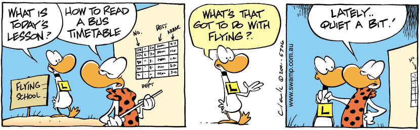 Swamp Cartoon - Flying LessonNovember 30, 2001