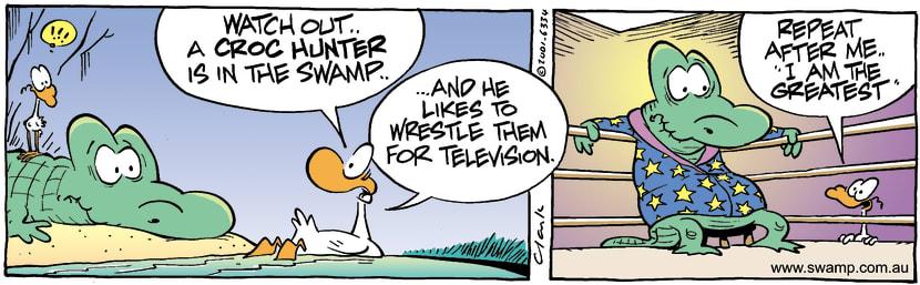 Swamp Cartoon - Croc WrestlerJanuary 4, 2002