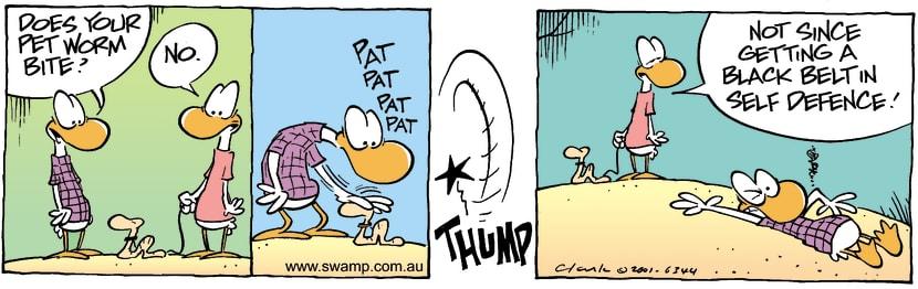 Swamp Cartoon - Worm BiteJanuary 16, 2002